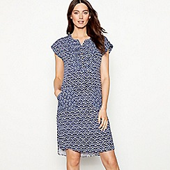 Mantaray - Navy patchwork print V-neck short sleeve mini dress