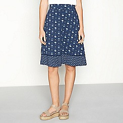 Mantaray - Navy floral print cotton knee length A-line skirt