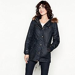 Mantaray - Navy Faux Fur Hood Borg Lined Coat