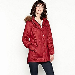 Mantaray - Burgundy Faux Fur Hood Borg Lined Coat