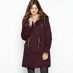 Mantaray - Wine red faux fur hood waxy parka coat