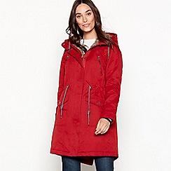 Mantaray - Red fur hood waxy parka coat