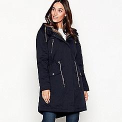 Mantaray - Navy fur hood waxy parka coat