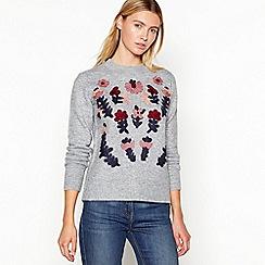 Mantaray - Grey floral folk embroidered jumper