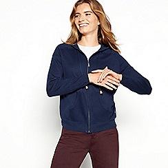 Mantaray - Navy knitted zip through hooded cardigan