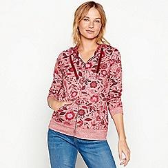 Mantaray - Rose floral print cotton blend zip through sweatshirt