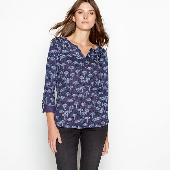 cotton tree neck top Dark notch print Mantaray blue 4qIOpawg