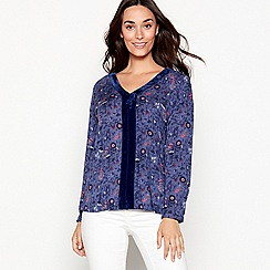 Mantaray - Blue floral print velvet trim top