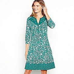 Mantaray - Green floral print cotton knee length dress