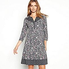 Mantaray - Grey floral print cotton dress