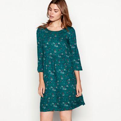 Mantaray Dark green floral print round neck mini smock dress   Debenhams