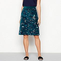 Mantaray - Dark green forest print cord skirt