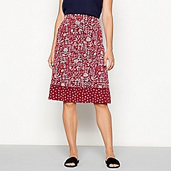 Mantaray - Maroon 'Trail' floral print knee length jersey skirt