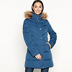 Mantaray - Blue fur hood long puffer coat