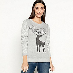 Mantaray - Grey reindeer motif Christmas jumper
