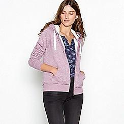 Mantaray - Mauve faux fur lined zip through sweatshirt