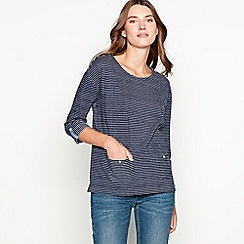 Mantaray - Navy stripe print cotton blend top