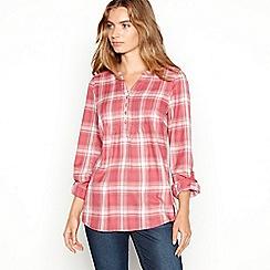 Mantaray - Maroon check print longline shirt