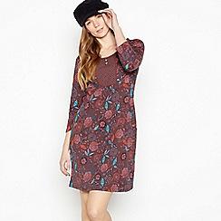 Mantaray - Plum Floral Bib Cotton Knee Length Dress
