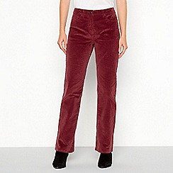 Mantaray - Wine red uncut corduroy bootcut trousers