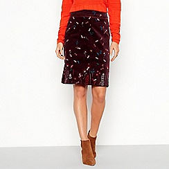 Mantaray - Plum fern print knee length skirt