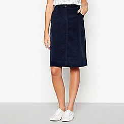 Mantaray - Navy Cord A-line Knee Length Skirt
