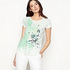 Mantaray - Dark green striped tropical print cotton t-shirt