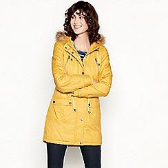 Mantaray - Yellow Faux Fur Hood Waxy Parka Coat