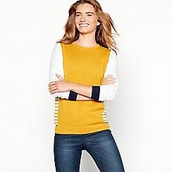 Mantaray - Dark yellow side stripe cotton blend jumper