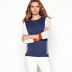 Mantaray - Blue side stripe cotton blend jumper