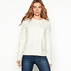 df1585f86 Mantaray - Off white patchwork cable knit jumper