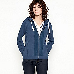 Mantaray - Navy Lace Trim Cotton Hoodie