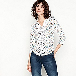 Mantaray - Off White Floral Print Pure Cotton Shirt