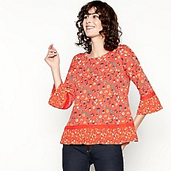 Mantaray - Red Floral Print Lace Trim Cotton Top