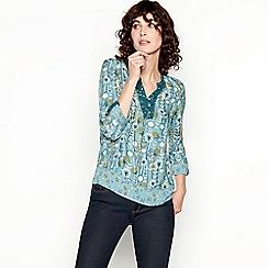 Mantaray - Light Green Dandelion Print Shirt