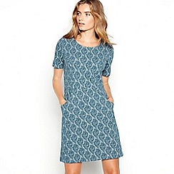 Mantaray - Lovat leaf jacquard mini shift dress