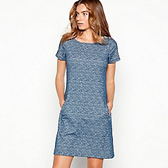 Mantaray - Navy textured jacquard mini shift dress