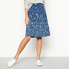 Mantaray - Navy Floral Border Print Knee Length Skirt