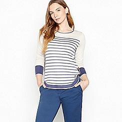 Mantaray - Blue Stripe Curved Hem Jumper