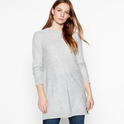 7e98681be3d42b Mantaray Grey knitted button back tunic top