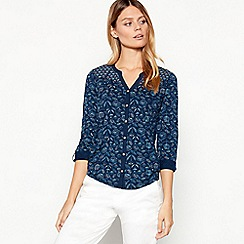 Mantaray - Navy Poppy Seed Print Cotton Top