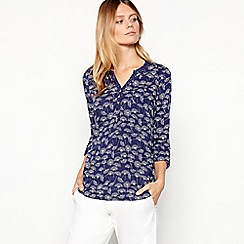 Mantaray - Navy 'Dandelion' Print Cotton Top