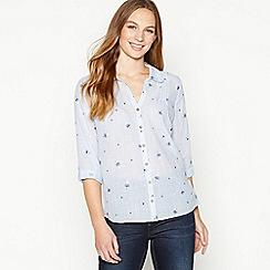 Mantaray - Light Blue Embroidered Cotton Shirt