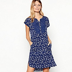 Mantaray - Navy Dandelion Print Knee Length Dress