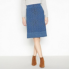 Mantaray - Blue Ditsy Leaf Print 'Indigo' Knee Length Skirt