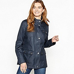 Mantaray - Navy Funnel Neck Waxed Showerproof Jacket
