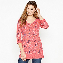 f6c4f18b676f65 Mantaray - Pink Geometric Floral Print Tunic Top