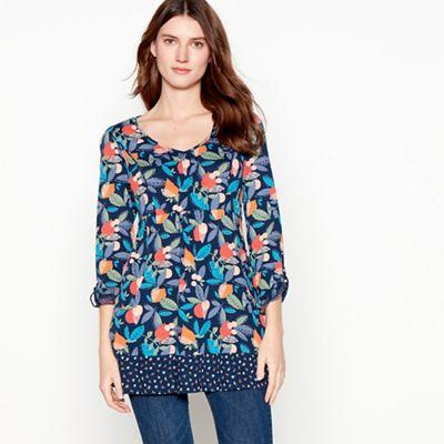 054010422343: Navy Fruit Print Cotton Tunic Top