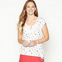Mantaray - Off White Broderie Fruit Print Cotton T-Shirt