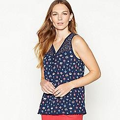 Mantaray - Navy Floral Print Cotton Vest Top